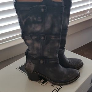 Frye Carmen 3 Strap boot in grey. Worn once.